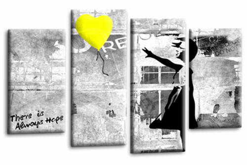 Banksy Art Yellow Balloon Girl Canvas Wall Picture Love Hope Print